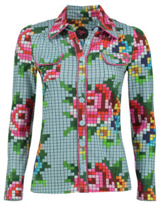 Blouse Pixel Rose Ice Blue
