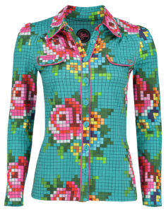 Blouse Pixel Rose Old Blue